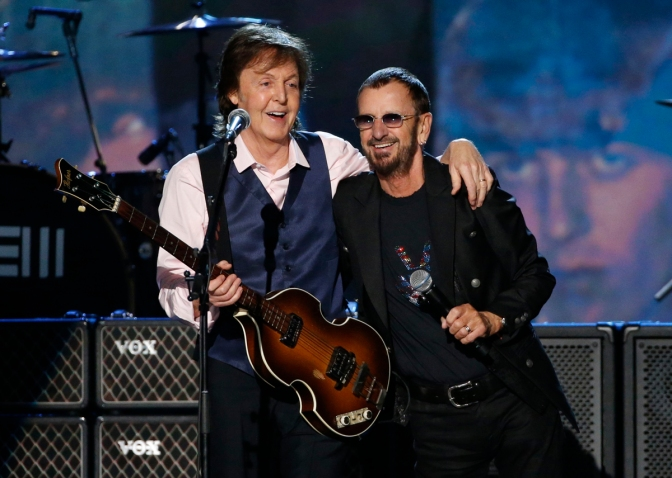 "Paul McCartney and Ringo Starr perform during the taping of ""The Night That Changed America: A GRAMMY Salute To The Beatles""  in Los Angeles"