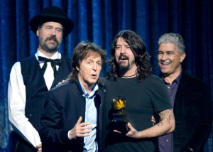 Accepting the Grammy for Best Rock Song